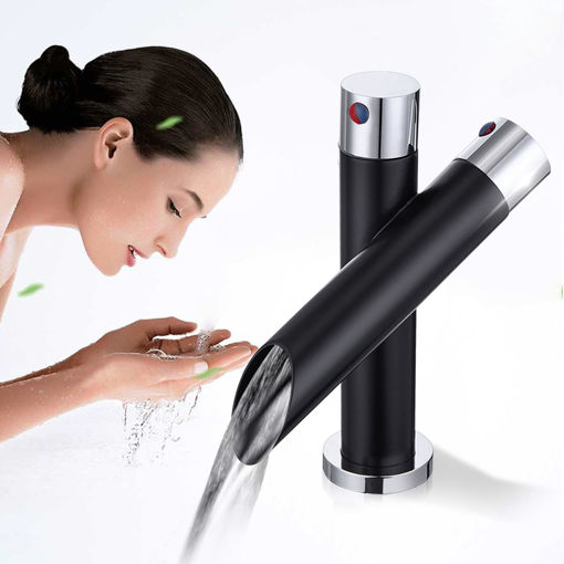 Picture of Modern Unique Bathroom Basin Faucet Single Handle Kitchen Sink Mixer Tap Waterfall Faucet Black