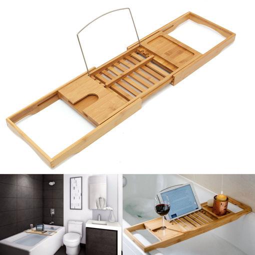 Immagine di Luxury Bathroom Bamboo Bath Shelf Bridge Tub Caddy Tray Rack Wine Holder Bathtub Rack Support