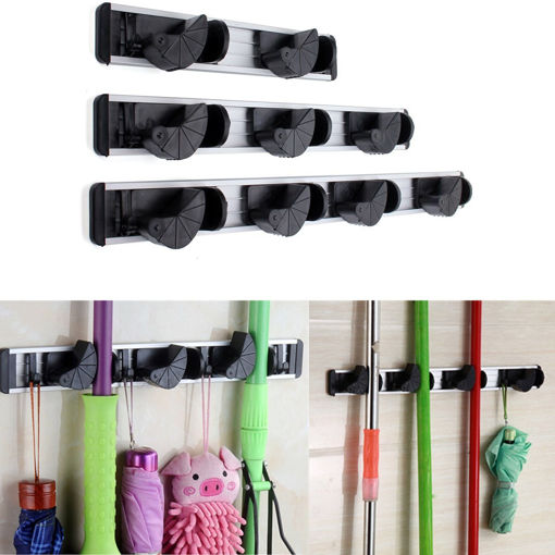 Picture of Multiduction Aluminium Wall Mounted Mop Broom Holder Brush Rack Cloth Hanger