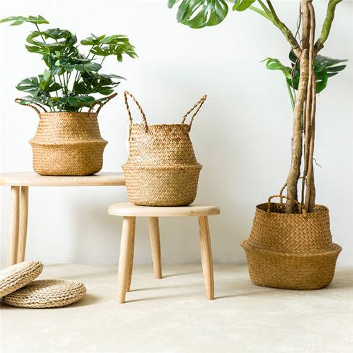Picture of Garden Flower Pot Seagrass Belly Basket Storage Plant Pot Foldable Seeding Nursery Decoration Bag