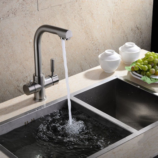 Picture of Flexible Chrome Brass Kitchen Sink Bathroom Clean Wash Cold & Hot Basin Twin Lever Faucet Mixer Tap