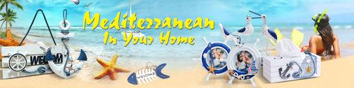 Immagine di Mediterranean Style Decorative Fish Net With Shells Blue White