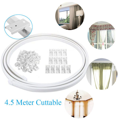 Picture of 4.5 Meter Cuttable Bendable Curtains Track Rail for Straight Bay Windows Caravan
