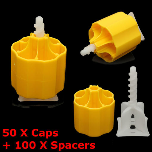 Picture of Floor Tile Leveling System 50 Caps and 100 Tile Spacers Plastic Flooring Tool Kits