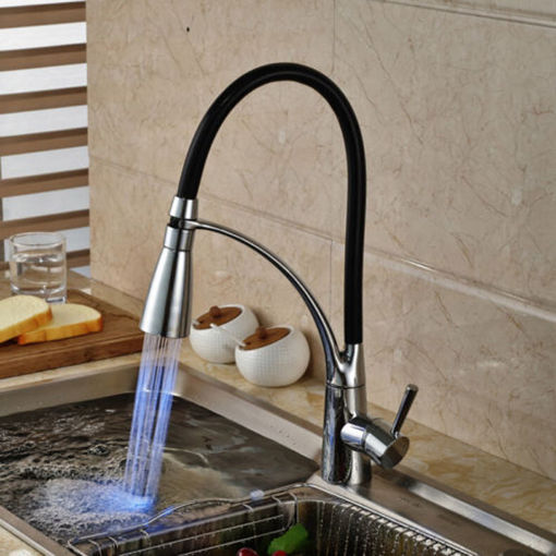 Picture of LED Kitchen Sink Faucet Black Chrome Plated Cold Hot Pull Out Spray Faucet Mixer Taps