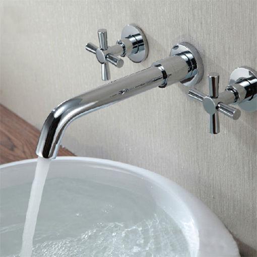 Immagine di Chrome Brass Modern Wall Mounted 3 Hole Bath Faucet Tap