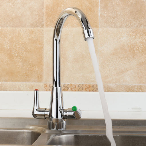 Picture of Chrome Modern Kitchen Sink Basin Faucet Twin Lever Rotation Spout Cold and Hot Water Mixer Tap