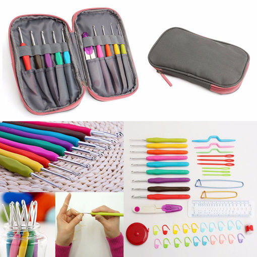 Picture of Crochet Needle Hooks Set Organiser Case AccBearded Needle Suit With 45 Piece Attach One Storage Bag