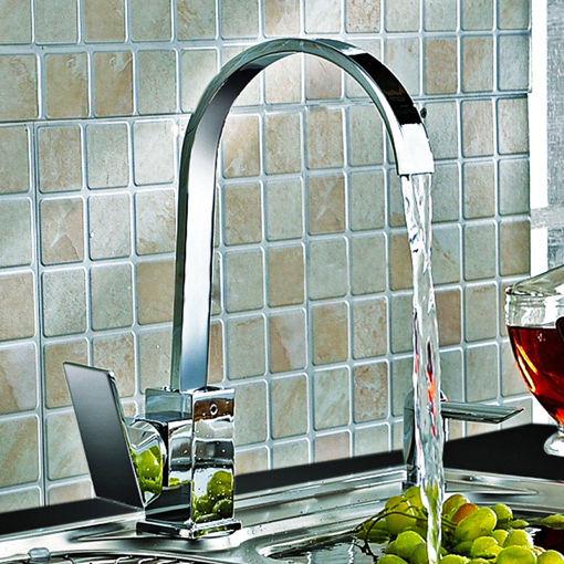 Picture of Kitchen Sink Faucet Mixer Tap Swivel Spout Chrome Brass Square Single Lever Mono