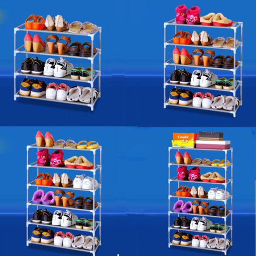 Immagine di Multi Tiers Shoes Shelf Storage DIY Metal Organizer Rack Holder Household Stands