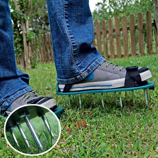 Picture of Gardening Grass Lawn Plastic Aerating Shoes Greensward Spikes Loosening Equipment
