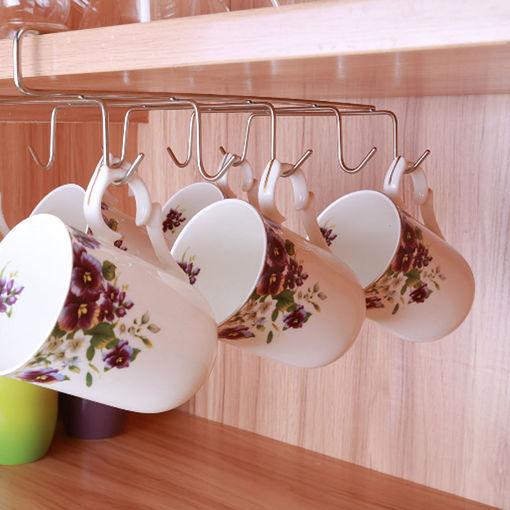 Immagine di 12 Hooks Stainless Steel Kitchen Storage Rack Cupboard Hanging Hook Shelf Dish Hanger Chest Storage