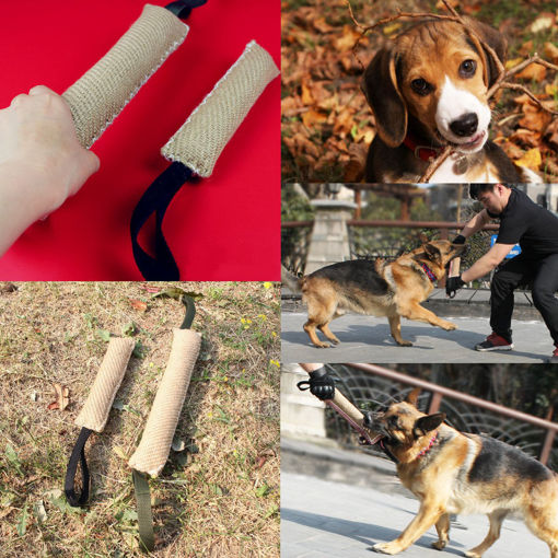 Picture of Handles Jute Police Young Dog Bite Tug Play Toy Pet Training Chewing Dog Bite Protection Arm Sleeve