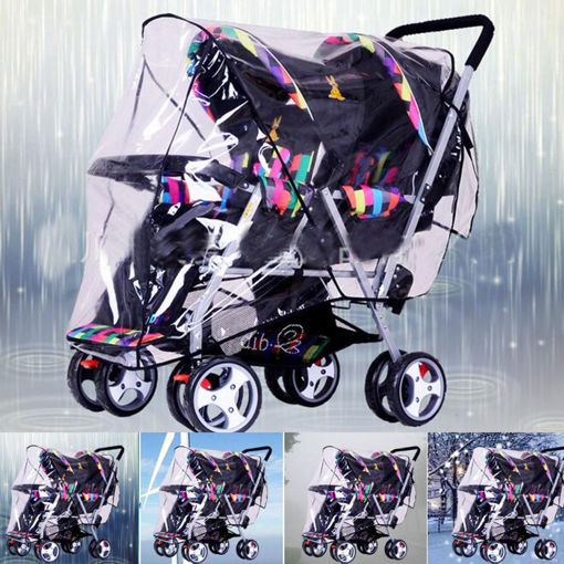 Picture of Clear Stroller Rain Cover Weather Pram Baby Infant Double Pushchair Wind Shield Raincoat