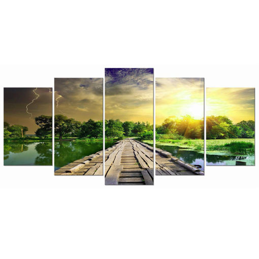 Immagine di 5Pcs Modern Art Printing Lake Landscape Poster Canvas Painting Home Wall Decor