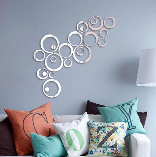 Immagine di 24PCS Circle 3D DIY Home Decor TV Wall Sticker Decoration Mirror Wall Stickers