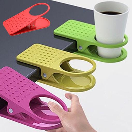 Picture of Honana Table Desk Cup Holder Clip Home Office Table Desk Side Huge Side Drink Clip Coffee Holder