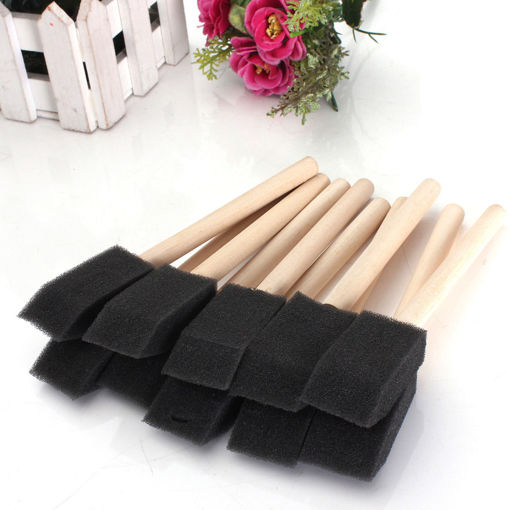 Picture of 20 PCS Foam Sponge Wooden Handle Painting Drawing Brushes